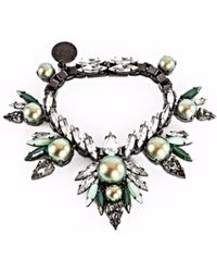 Ellen Conde - Iridescent Green Pearl And Crystal Bracelet - Lyst