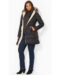 Lauren by Ralph Lauren Faux Fur-trim Quilted Jacket - Lyst