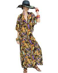 Etro Printed Silk Crepe De Chine Caftan Dress - Lyst