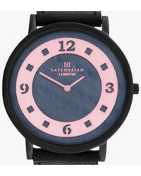 Tateossian | Rotondo Ultra Slim Watch With Black Mother Of Pearl And Black Colour Plating | Lyst