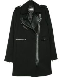 Mango - Leather Lapel Biker Coat - Lyst