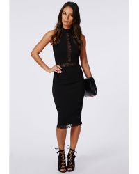 Missguided Jay Lace Panel Midi Dress Black - Lyst