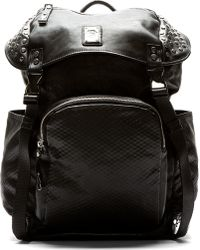 Diesel Black Mock Leather Studded Rucksack - Lyst