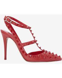 Valentino Rockstud Slingback Leather Pump: Red - Lyst