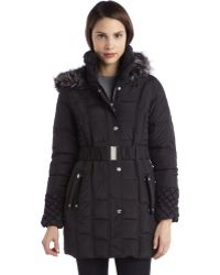 Betsey Johnson Steel Quilted Down Filled Faux Fur Hooded Zip and Snap Front Coat - Lyst