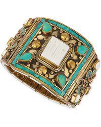 Devon Leigh - White Shell & Turquoise Brass Bangle - Lyst