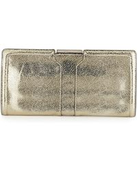 Milly Iris Metallic Leather Clutch Bag - Lyst