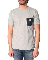 Diesel Elico Marled Grey T-Shirt With Denim Pocket - Lyst