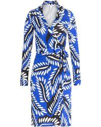 Diane von Furstenberg Printed Silk Wrap Dress - Lyst