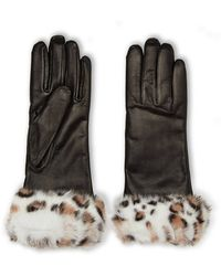 Grandoe - Real Rabbit Fur Trim Leather Gloves - Lyst