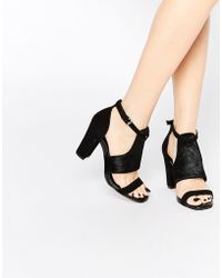 Warehouse - Suede Block Heeled Sandal - Lyst