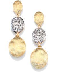 Marco Bicego Siviglia Diamond & 18K Yellow Gold Triple-Drop Earrings - Lyst