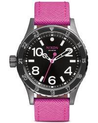 Nixon '39-20 Leather' Watch pink - Lyst