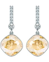 Swarovski Artisan Silvertone Gold Crystal Drop Earrings - Lyst