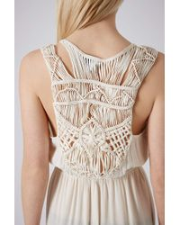 Topshop Cream Macrame Back Maxi Dress - Lyst