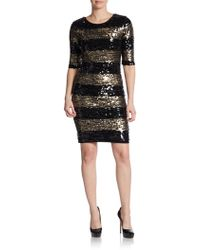 BCBGMAXAZRIA Sequin-Stripe Shift Dress - Lyst