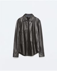 Zara Studio Zipped Leather Jacket - Lyst