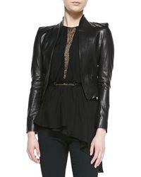 Halston Heritage Cropped Leather Jacket - Lyst
