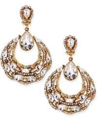 Jose & Maria Barrera Gold-Plated Ornate Hoop Earrings gold - Lyst