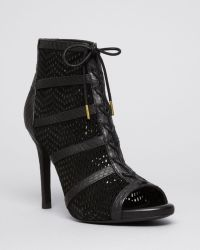 Joie Open Toe Platform Lace Up Perforated Booties - Shari High Heel - Lyst