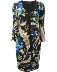 Roberto Cavalli Printed Ruched Dress - Lyst