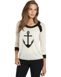 Quinn Ivory And Black Cashmere Knit 'Marina' Intarsia Sweater - Lyst