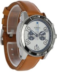 Nixon | Silver/sand Ranger Chrono Leather Watch | Lyst