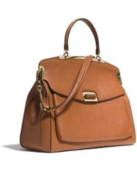 Coach Madison Pinnacle Frame Top Handle in Pebbled Leather - Lyst