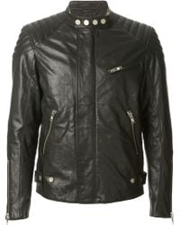 Dondup Ribbed Shoulders Biker Jacket - Lyst