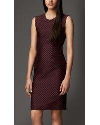 Burberry Silk Blend Textured Shift Dress - Lyst