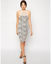 AX Paris High Neck Body-Conscious Lace Midi Dress - Lyst
