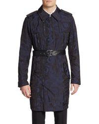 Versace Camo-Print Nylon Trench Coat - Lyst