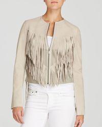 Elie Tahari Paulina Fringe Leather Jacket - Lyst