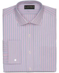 Lauren by Ralph Lauren Pink and Blue Stripe French Cuff Shirt - Lyst