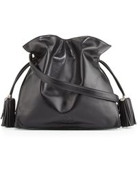Loewe Flamenco 30 Polished Calfskin Drawstring Bag Black - Lyst