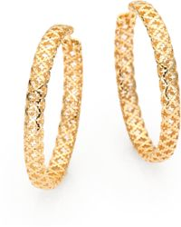 Gucci 18k Gold Cutout Hoop Earrings25 - Lyst