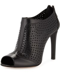 Prada Leather Perforated Peep-Toe Bootie - Lyst