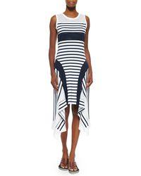 Jean Paul Gaultier Sport-Stripe Handkerchief-Hem Tank Dress - Lyst