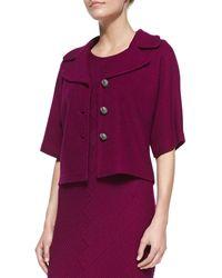 St. John Collection Chevron Twill Knit Elbowsleeve Jacket  Sleeveless Dress - Lyst