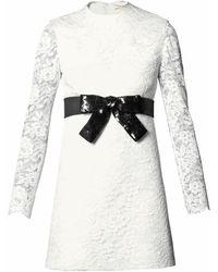 Saint Laurent Sequinned-bow Lace Dress - Lyst