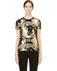 Versus  Black and Gold Signature Graphic T_shirt - Lyst
