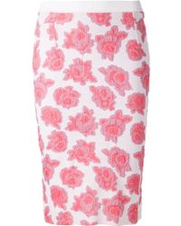 Nina Ricci Floral Knit Fitted Skirt - Lyst