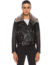 Acne Studios Mape Shearling Leather Jacket - Lyst