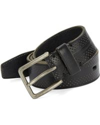 John Varvatos Textured Leather Belt black - Lyst