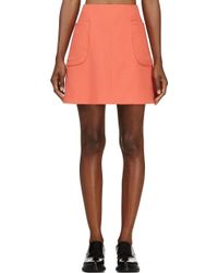 Carven Tangerine Double Crepe A_line Skirt - Lyst