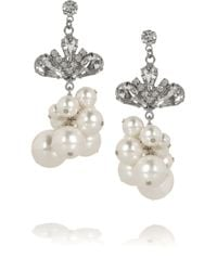 Tom Binns Regal Rocker Rhodium Plated Swarovski Crystal and Pearl Earrings - Lyst