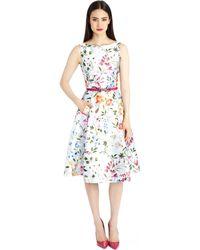 Oscar de la Renta English Garden Print Mikado Dress - Lyst