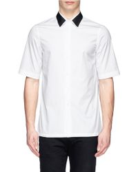 Marni Contrast Collar Cotton Poplin Shirt - Lyst