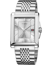 Gucci Mens Stainless Steel Square Watch with Bracelet - Lyst