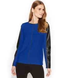 Calvin Klein Faux-leather-trim Seamed Top - Lyst
